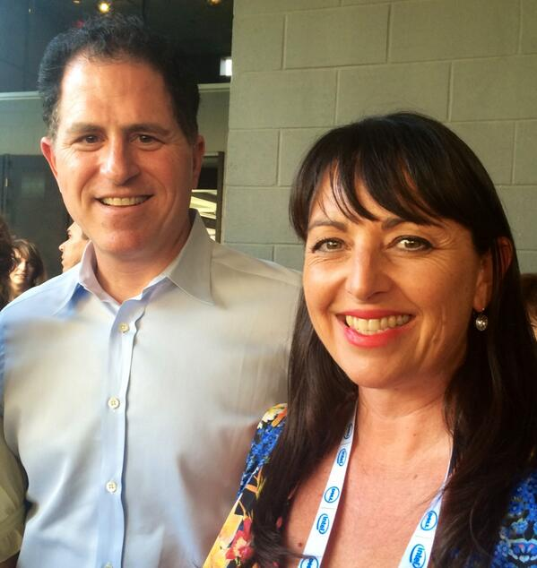 Catriona Pollard with Michael Dell, CEO of Dell Computers